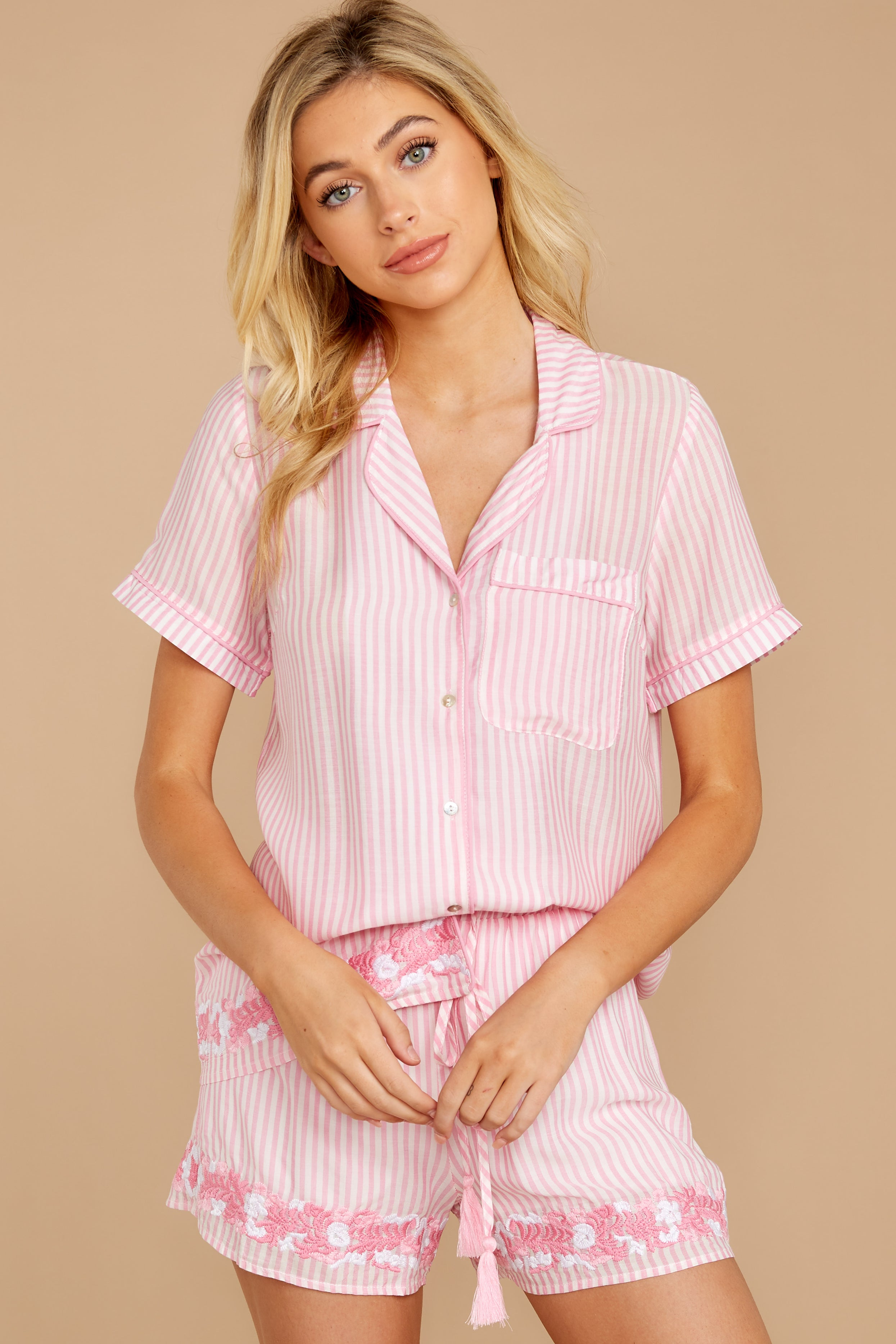 5 Chill Out Pink Stripe Pajama Shorts at reddressboutique.com