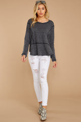 2 The Black Airy Slub Long Sleeve Top at reddress.com