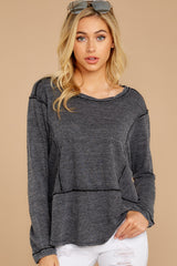 5 The Black Airy Slub Long Sleeve Top at reddress.com