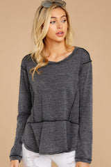 6 The Black Airy Slub Long Sleeve Top at reddress.com