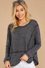 7 The Black Airy Slub Long Sleeve Top at reddress.com