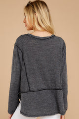 8 The Black Airy Slub Long Sleeve Top at reddress.com