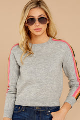 5 Renew Retro Grey Rainbow Stripe Sweater at reddressboutique.com