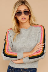 6 Renew Retro Grey Rainbow Stripe Sweater at reddressboutique.com