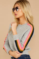 7 Renew Retro Grey Rainbow Stripe Sweater at reddressboutique.com