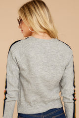 8 Renew Retro Grey Rainbow Stripe Sweater at reddressboutique.com