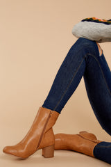 1 Narrow Margin Light Brown Ankle Boots at reddressboutique.com