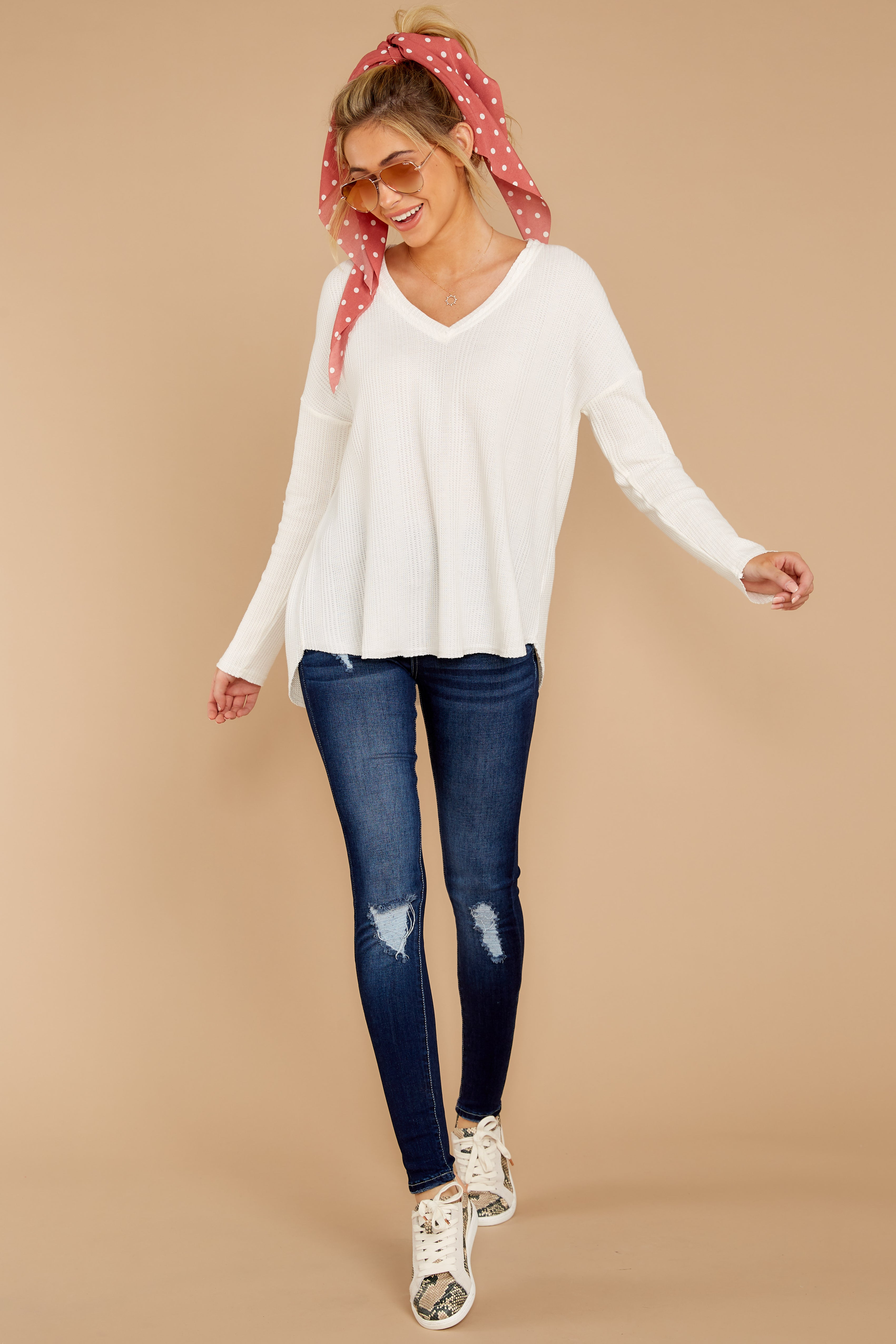 1 Pep Talks White Waffle Knit Top at reddressboutique.com