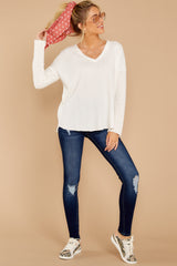 3 Pep Talks White Waffle Knit Top at reddressboutique.com