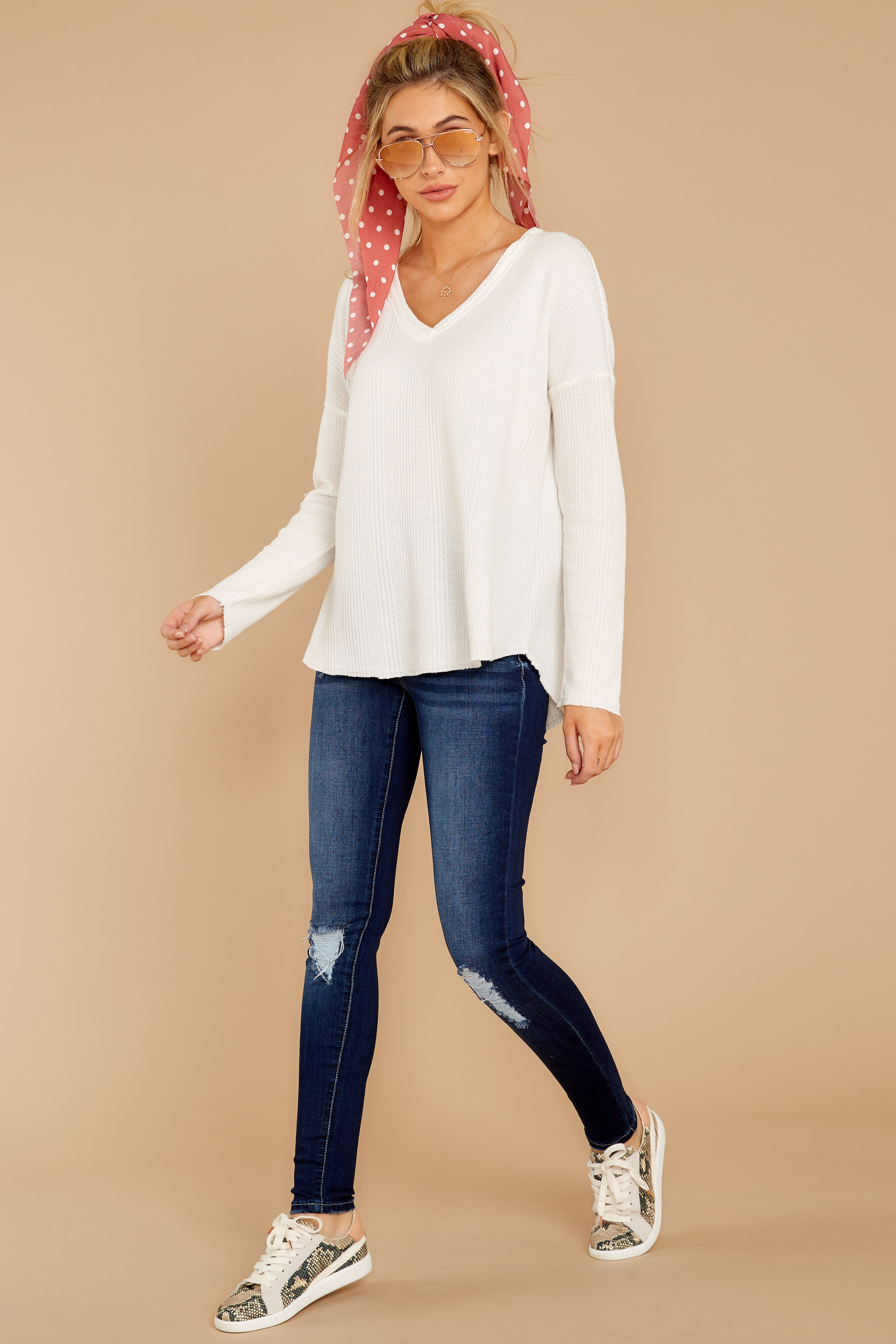 4 Pep Talks White Waffle Knit Top at reddressboutique.com