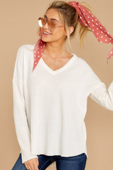 6 Pep Talks White Waffle Knit Top at reddressboutique.com