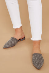 1 Casual Escapade Dark Grey Studded Mules at reddress.com