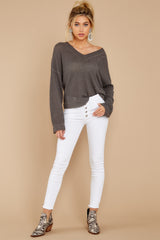 1 Daytime Debut Charcoal Grey Waffle Knit Top at reddressboutique.com