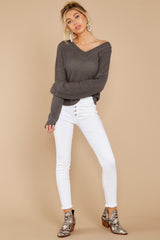2 Daytime Debut Charcoal Grey Waffle Knit Top at reddressboutique.com