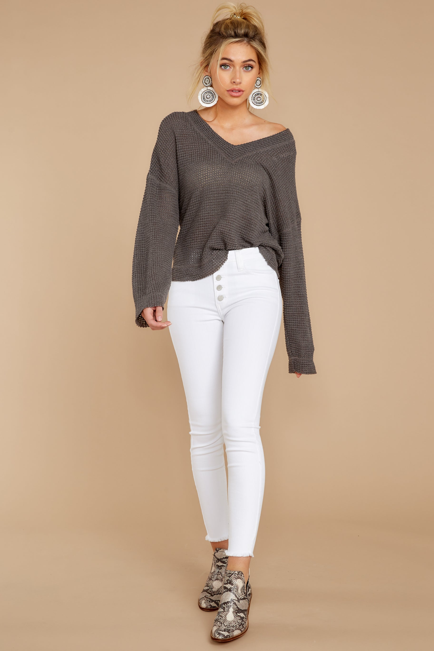 3 Daytime Debut Charcoal Grey Waffle Knit Top at reddressboutique.com