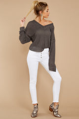 4 Daytime Debut Charcoal Grey Waffle Knit Top at reddressboutique.com