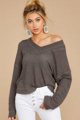 5 Daytime Debut Charcoal Grey Waffle Knit Top at reddressboutique.com