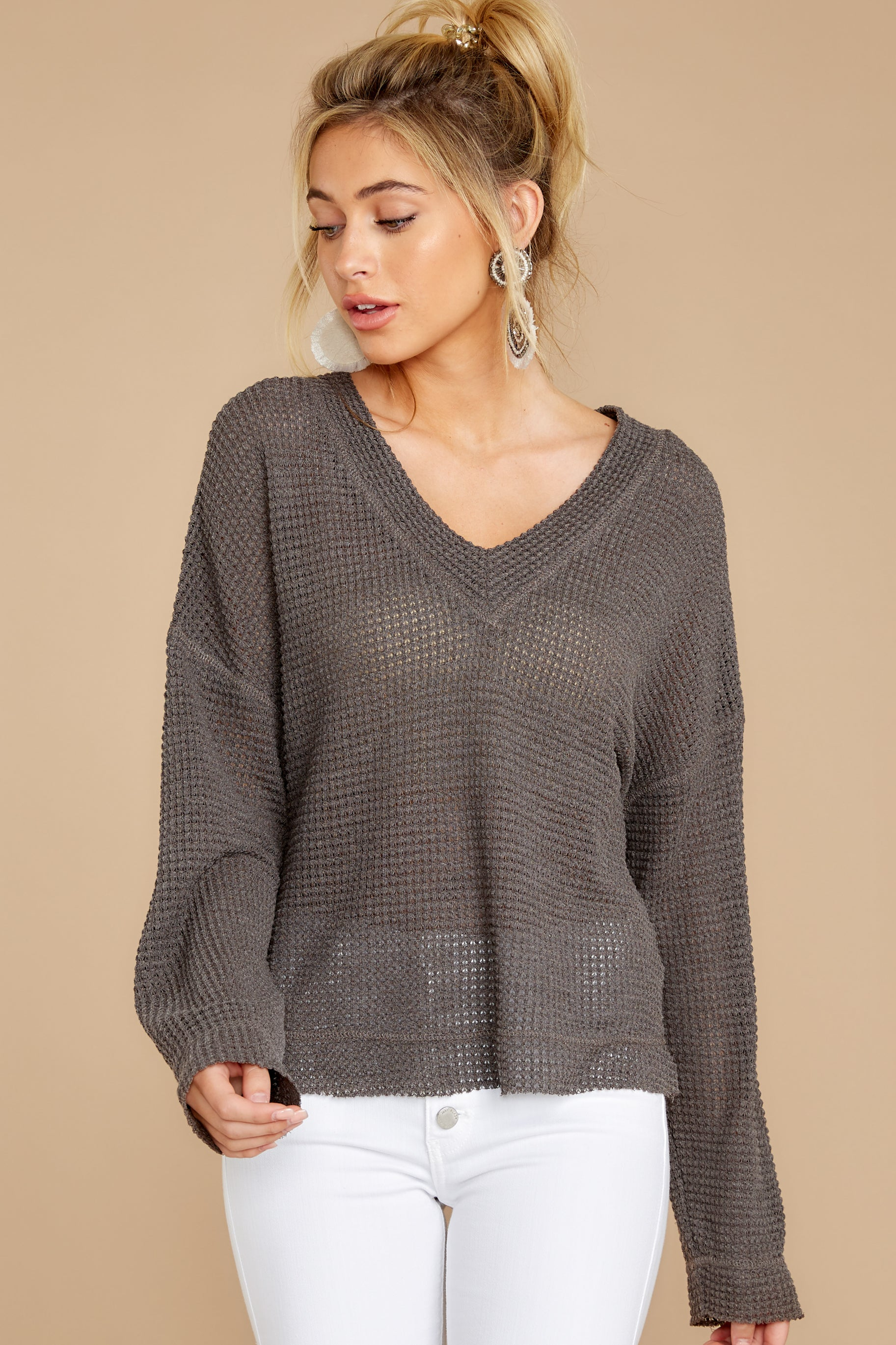 7 Daytime Debut Charcoal Grey Waffle Knit Top at reddressboutique.com