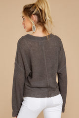 8 Daytime Debut Charcoal Grey Waffle Knit Top at reddressboutique.com