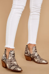 4 Breaking Wild Snake Print Ankle Boots at reddressboutique.com