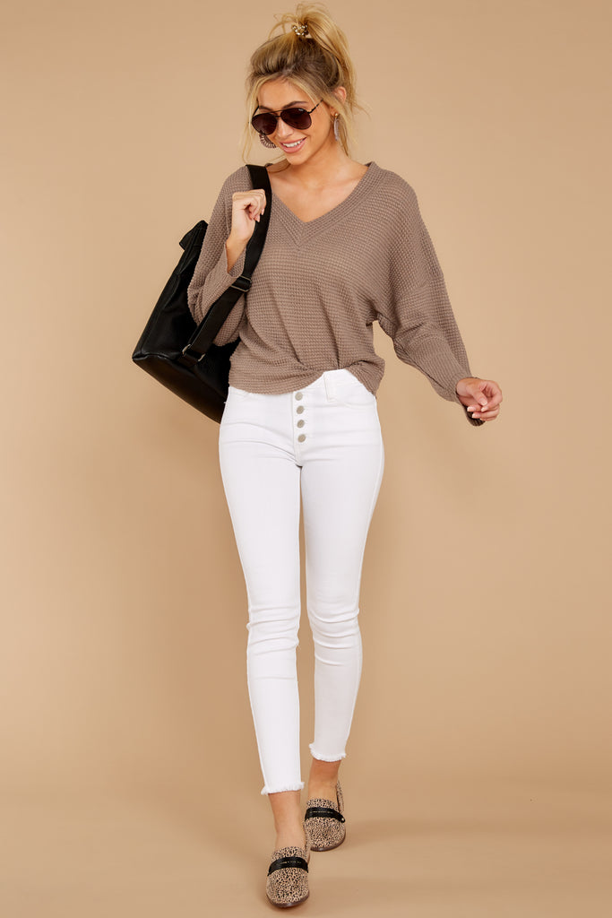 1 Gotta Be Real Beige Waffle Knit Top at reddress.com