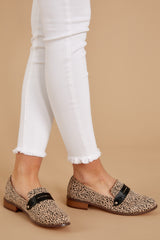 2 Work Related Beige Cheetah Print Loafers at reddressboutique.com