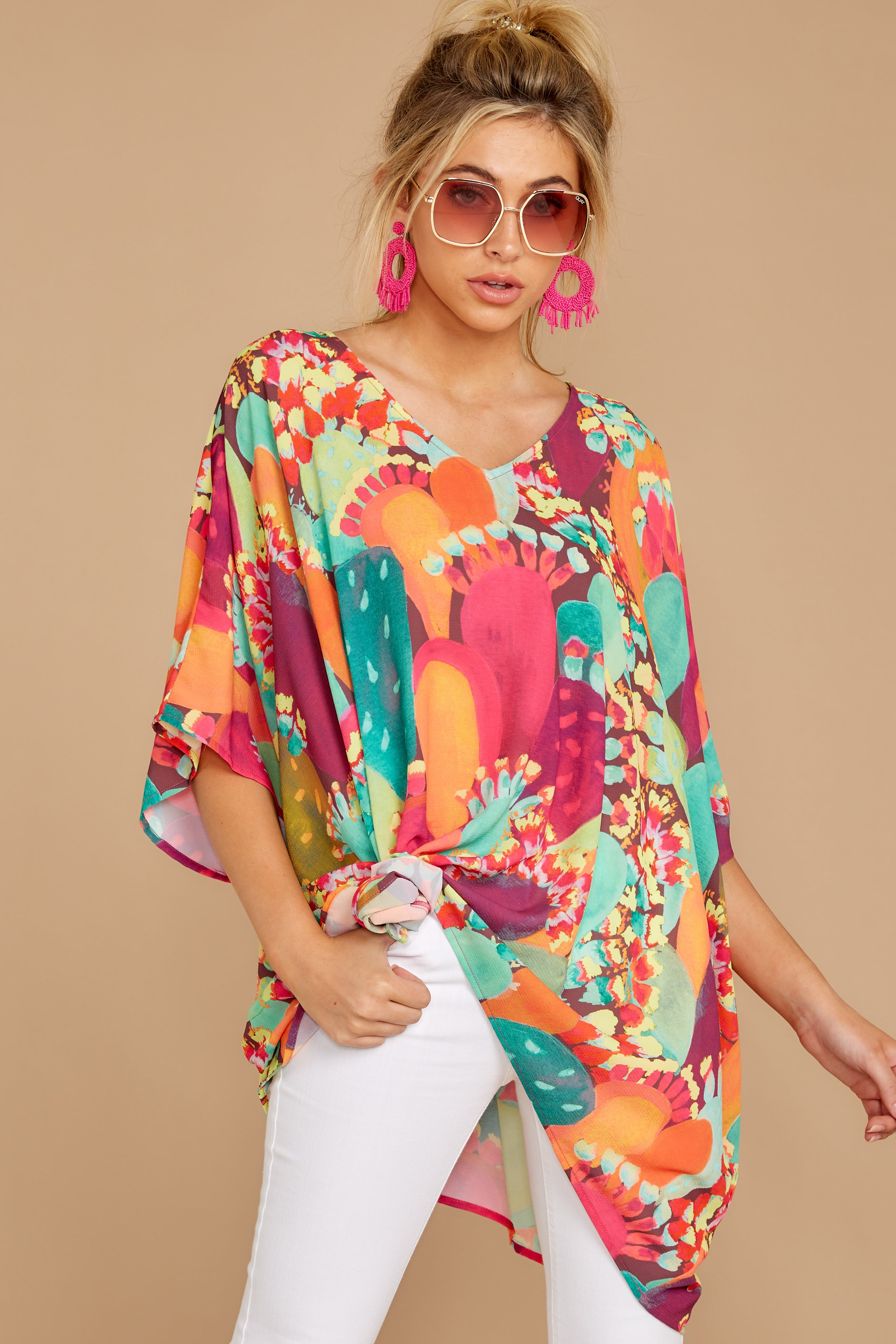 Straight From Paradise Orange Multi Print Top