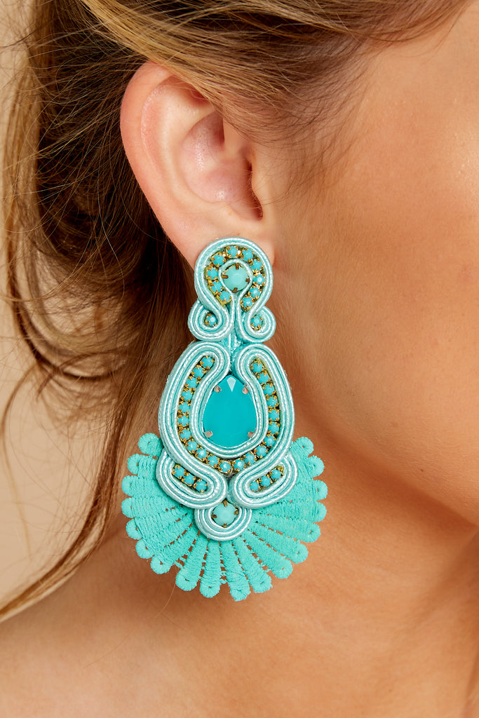 1 Whenever Wherever Turquoise Beaded Earrings at reddressboutique.com