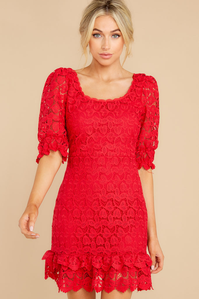 1 Better For It Red Lace Dress at reddress.com