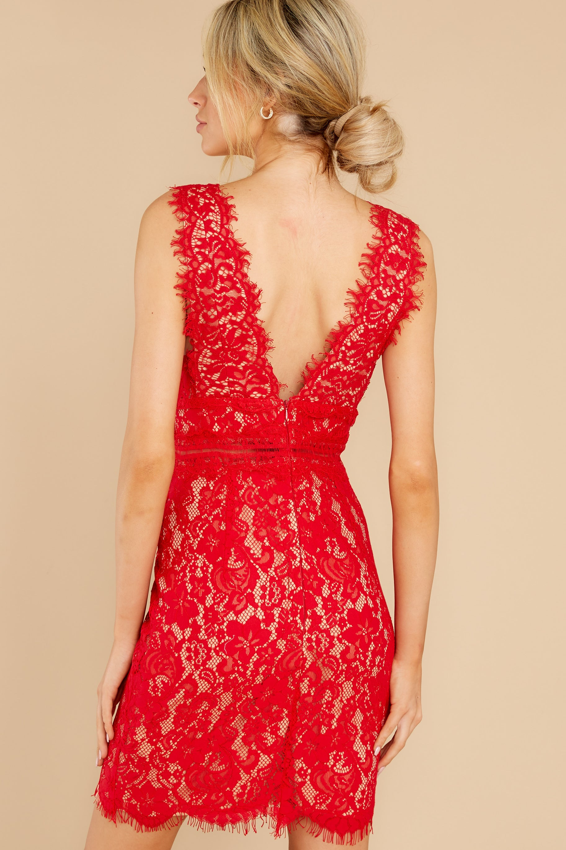5 Better For It Red Lace Dress at reddress.com