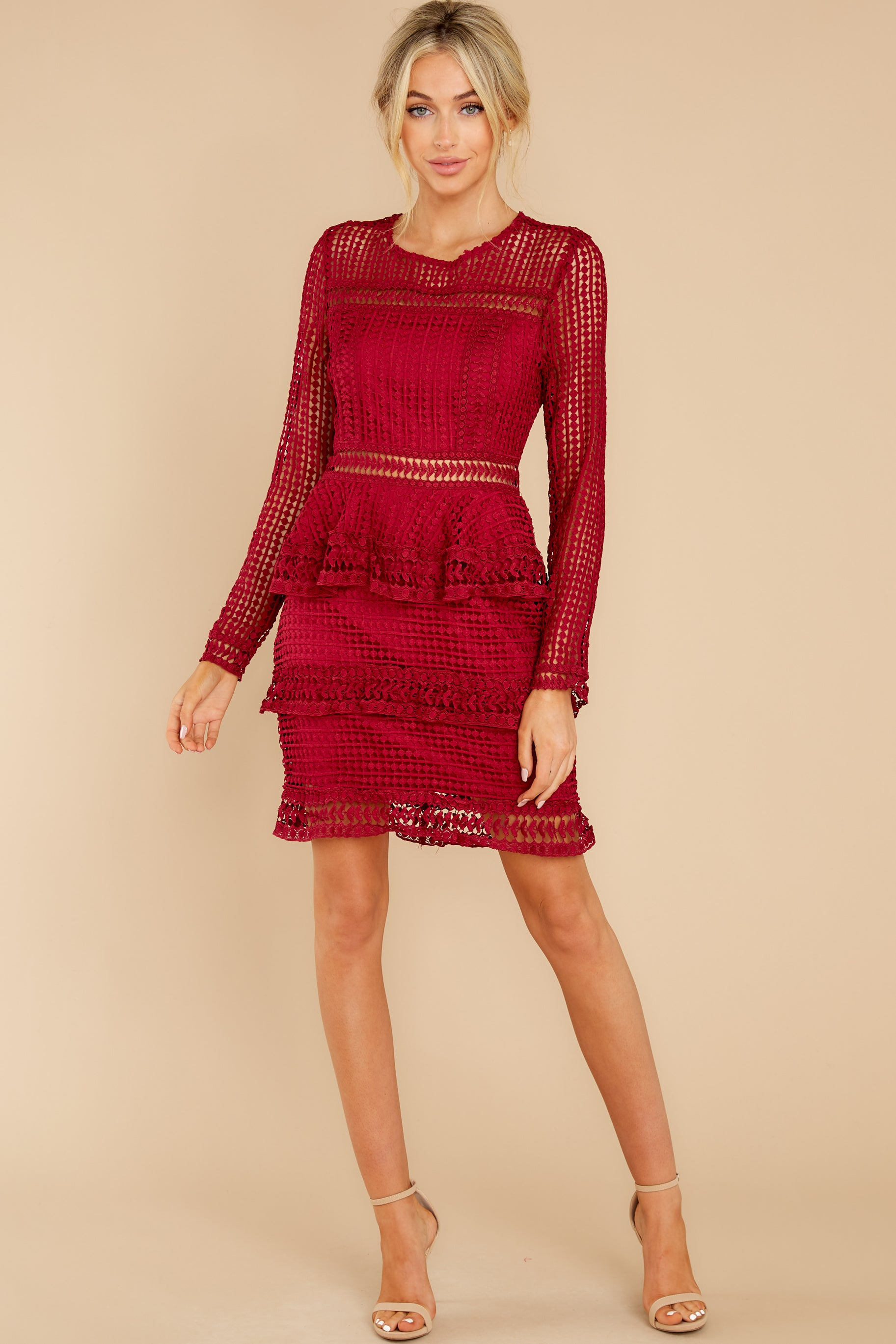 3 Out For Love Burgundy Lace Dress at reddress.com