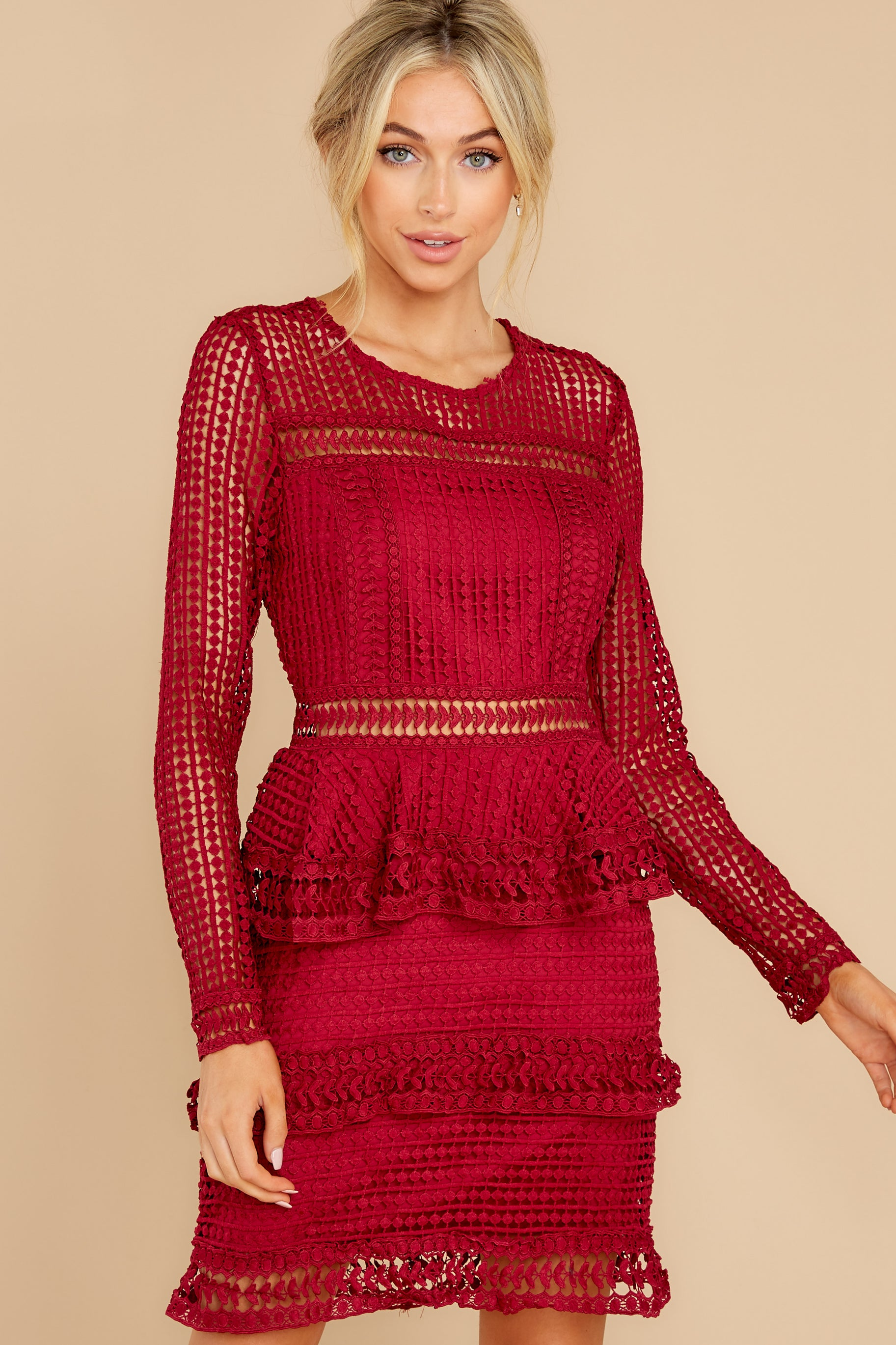 4 Out For Love Burgundy Lace Dress at reddress.com