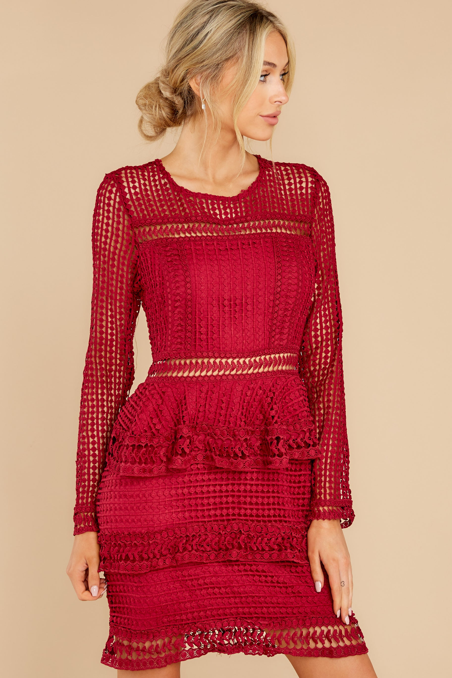 5 Out For Love Burgundy Lace Dress at reddress.com