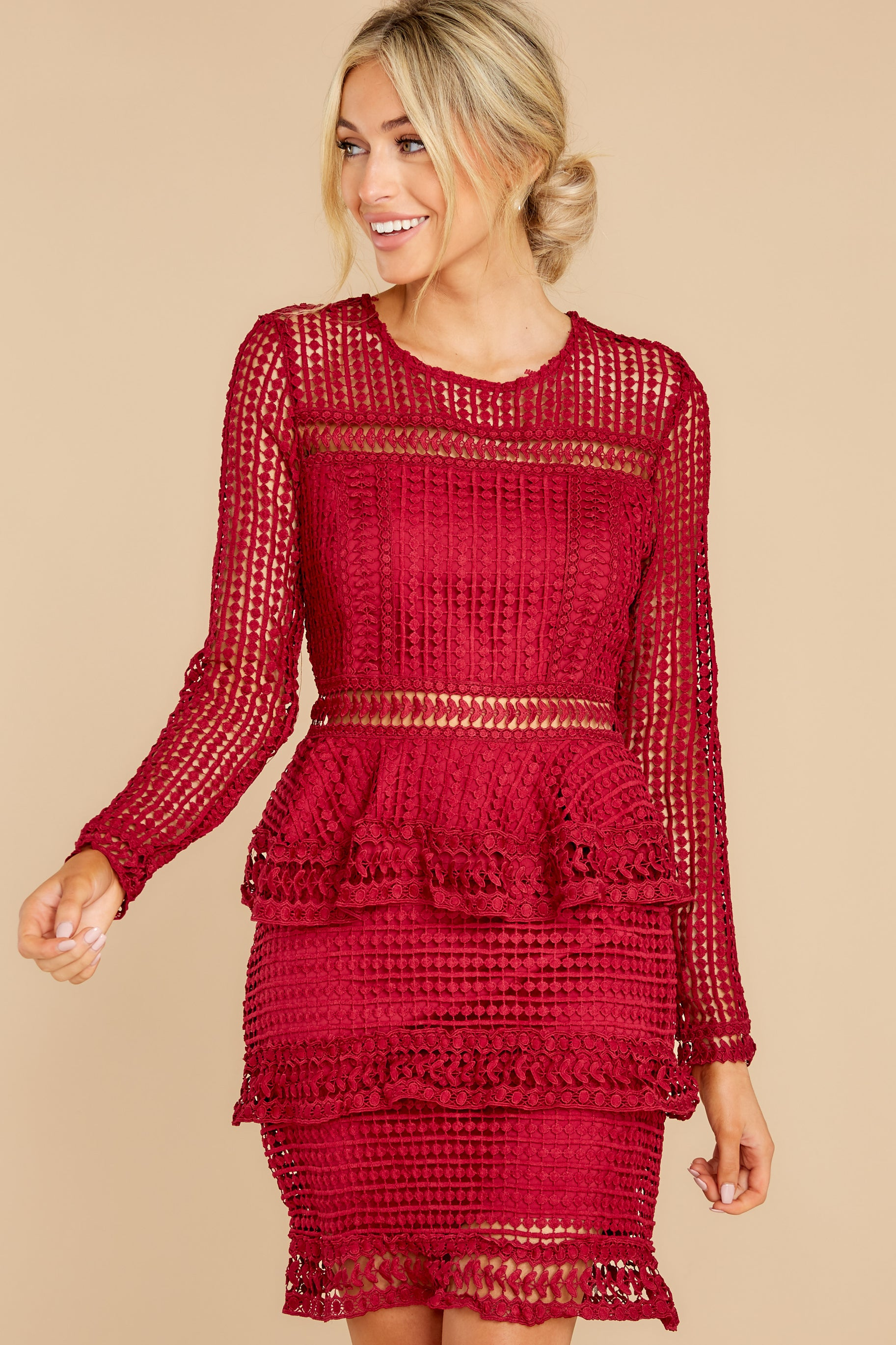 6 Out For Love Burgundy Lace Dress at reddress.com