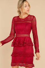 1 Out For Love Burgundy Lace Dress at reddress.com