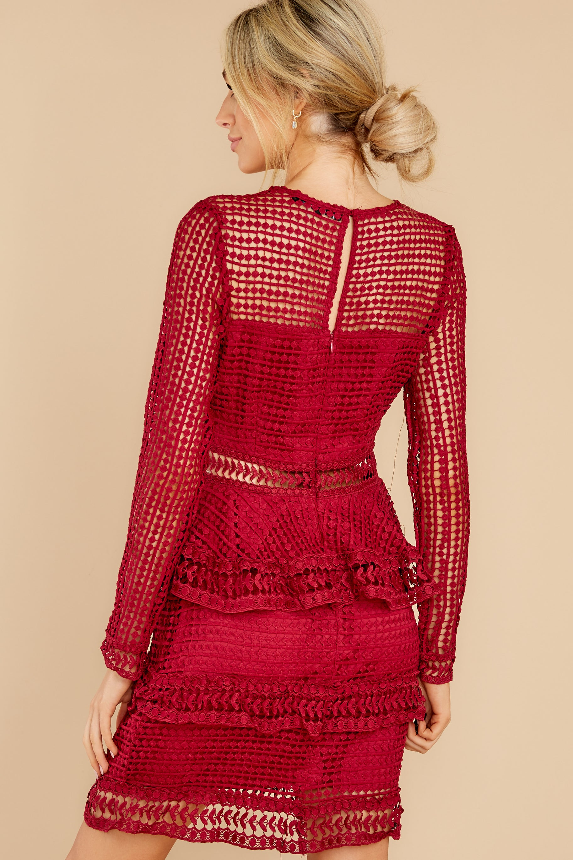7 Out For Love Burgundy Lace Dress at reddress.com