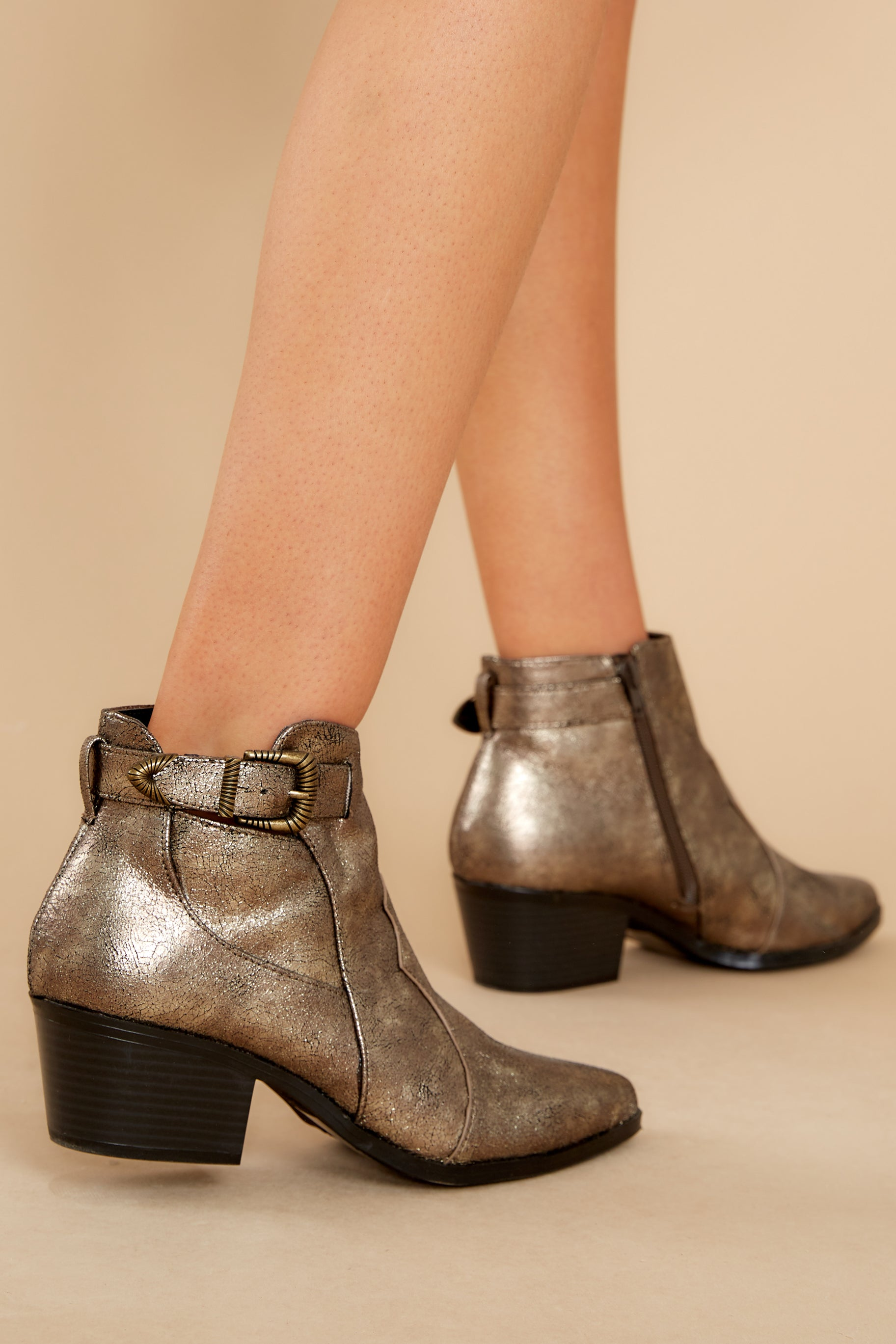 1 Ready To Roam Gold And Black Ankle Booties @ reddress.com
