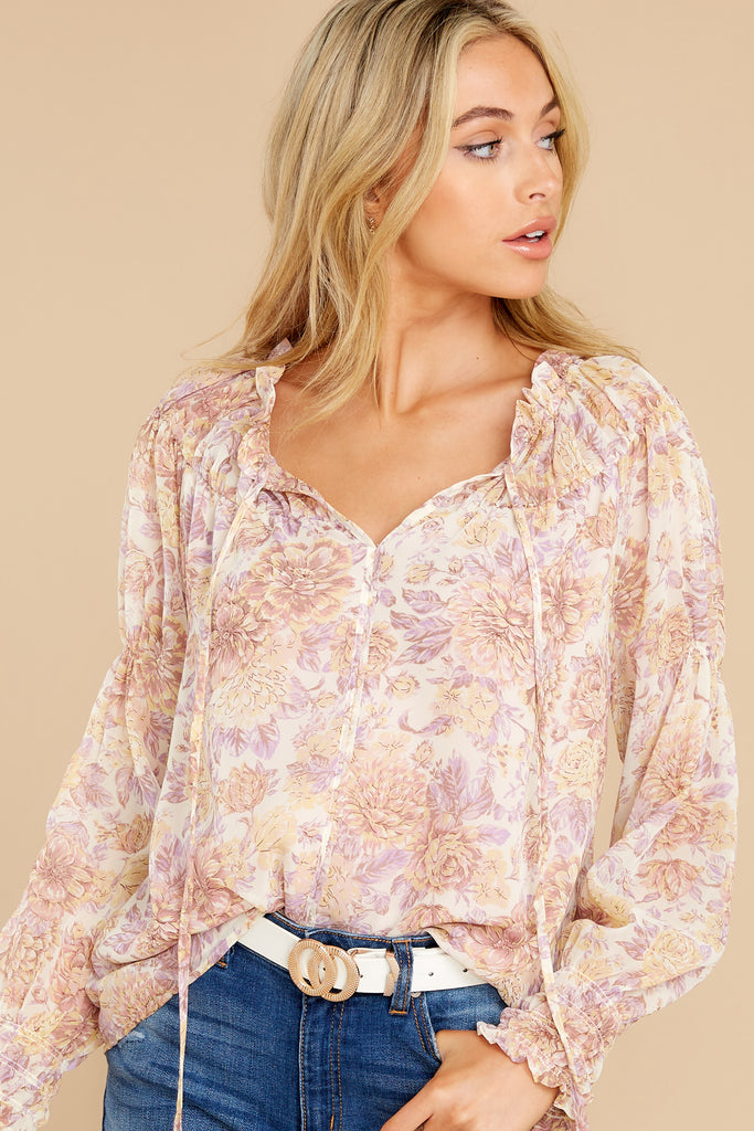 1 Fleetwood Rust Floral Chiffon Top at reddress.com