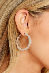 1 New Opportunities Silver Hoop Earrings @ reddress.com