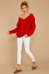 2 As Long As You Love Me Red Sweater at reddressboutique.com