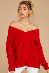 7 As Long As You Love Me Red Sweater at reddressboutique.com