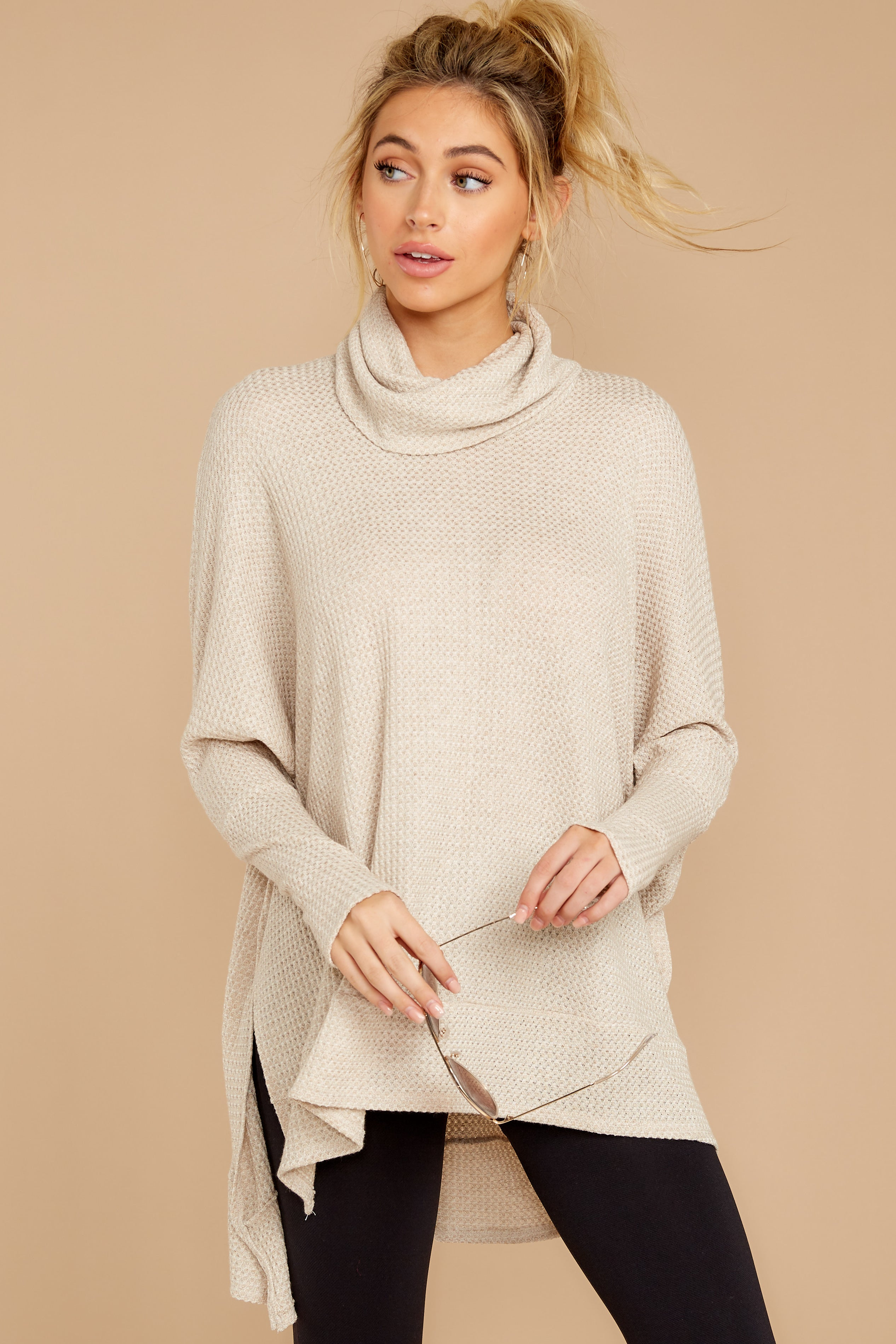 5 Starting Over Oatmeal Cowl Neck Top at reddressboutique.com
