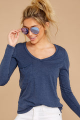 3 The Black Iris Long Sleeve Pocket Tee at reddressboutique.com