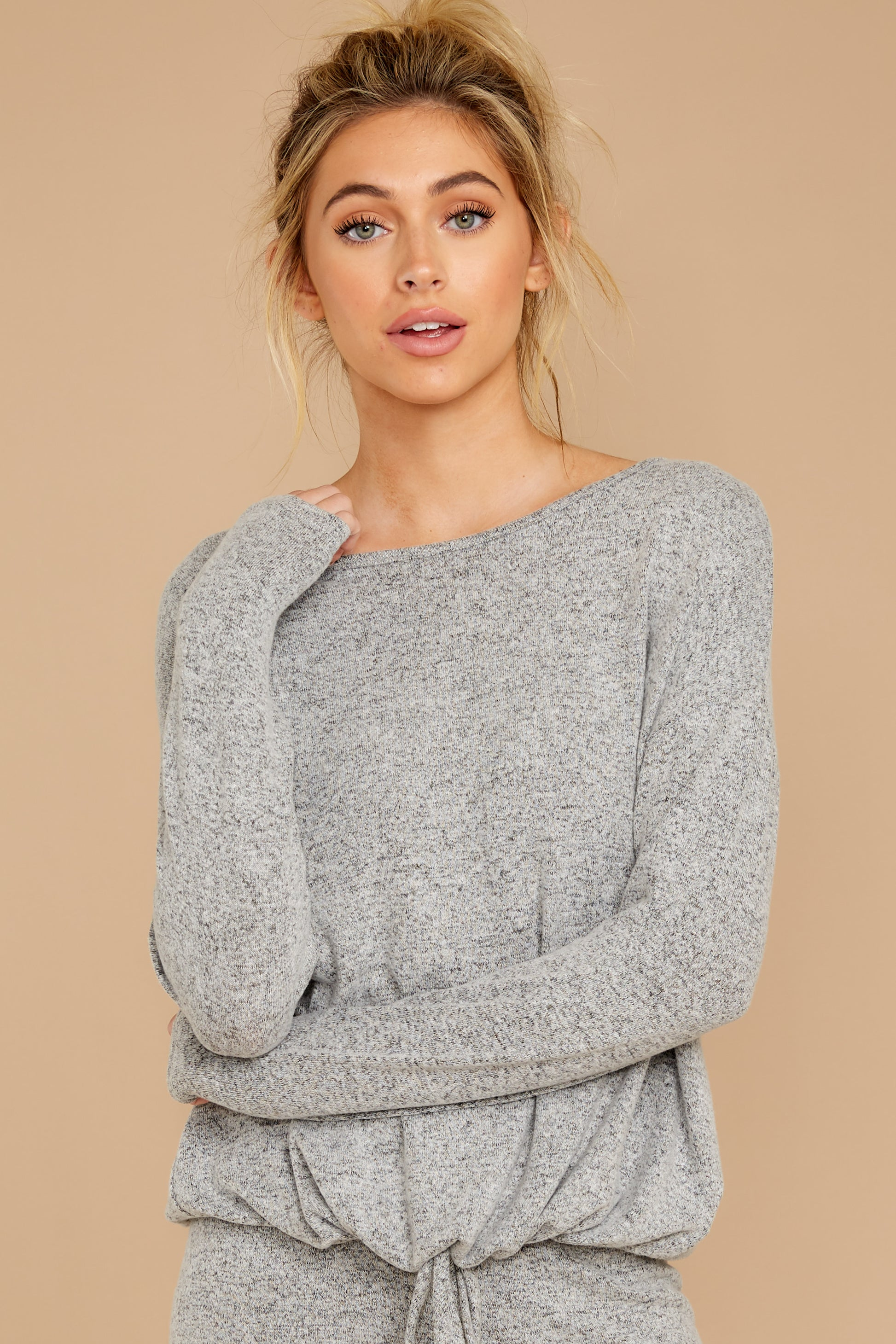 4 Escape To Comfort Heather Grey Pullover at reddressboutique.com