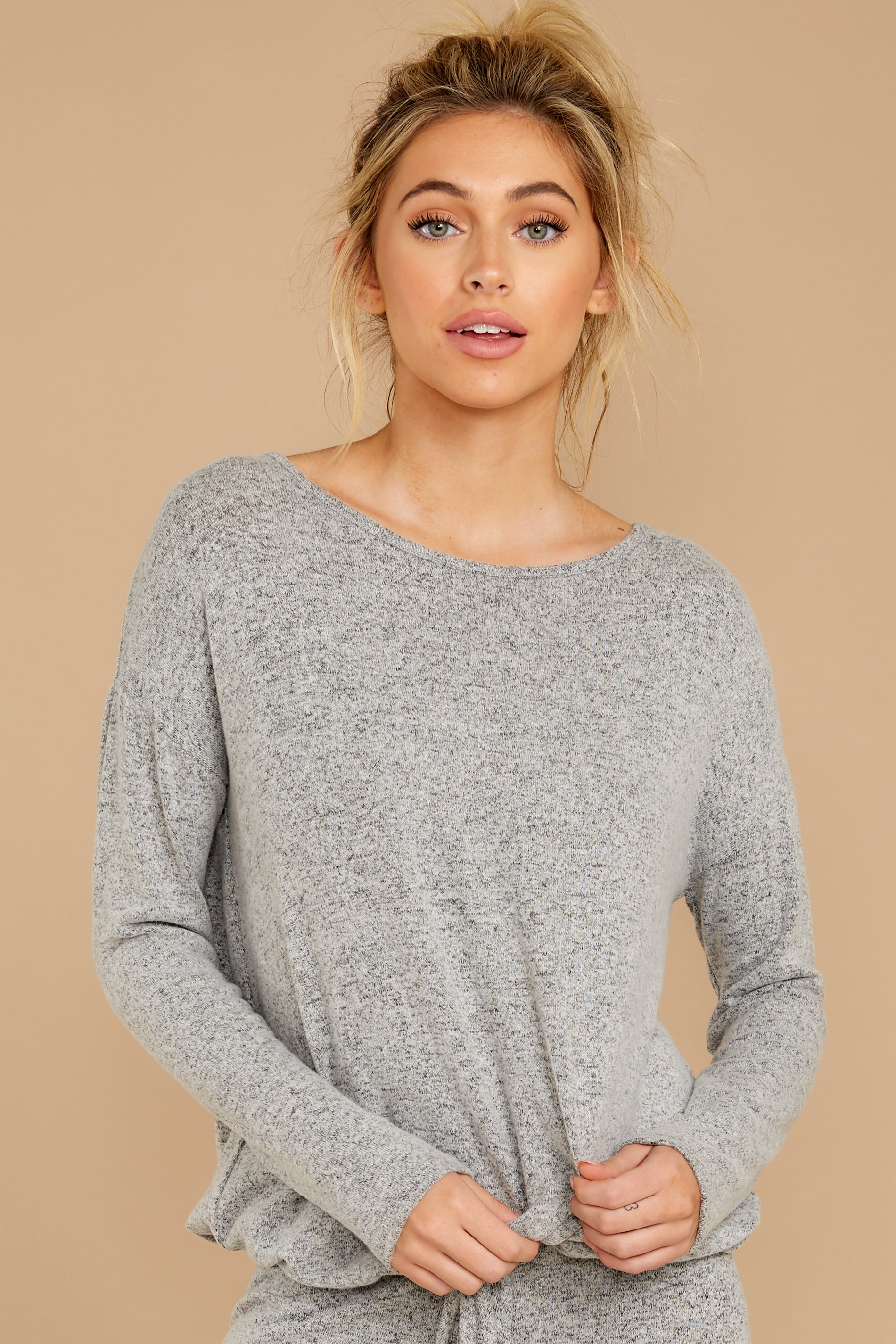 5 Escape To Comfort Heather Grey Pullover at reddressboutique.com