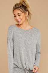 6 Escape To Comfort Heather Grey Pullover at reddressboutique.com