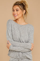 7 Escape To Comfort Heather Grey Pullover at reddressboutique.com
