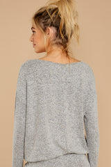 8 Escape To Comfort Heather Grey Pullover at reddressboutique.com