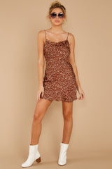 3 Unrivaled Style Mocha Brown Print Dress at reddressboutique.com