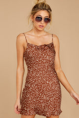 5 Unrivaled Style Mocha Brown Print Dress at reddressboutique.com